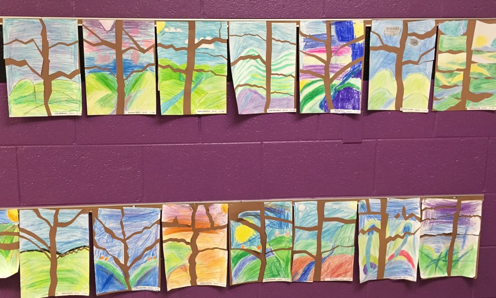 4th Grade: Fall trees using positive and negative space
